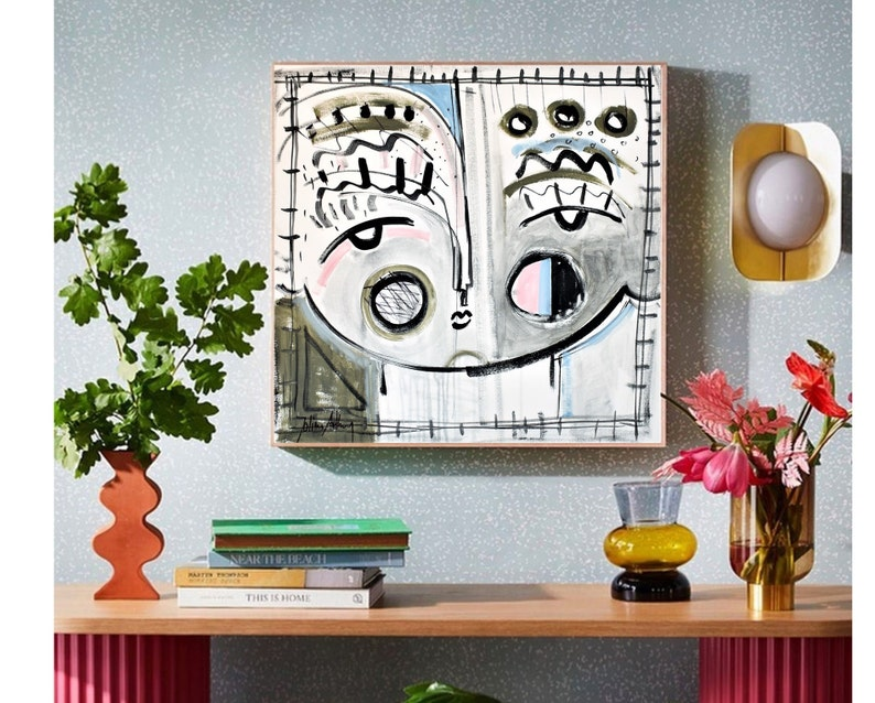 colorful face   abstract painting nice original painting white image 0