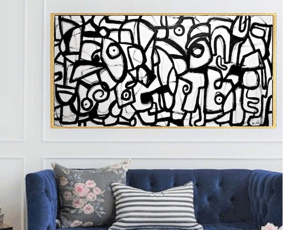 black and white  abstract painting nice livingroom abstract art  by jolina anthony oil painting