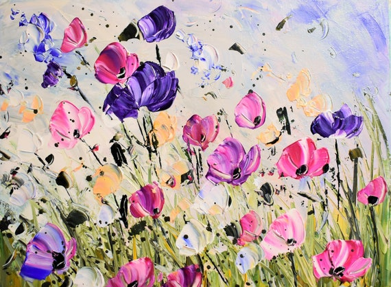 pink poppies   abstract painting by Jolina Anthony