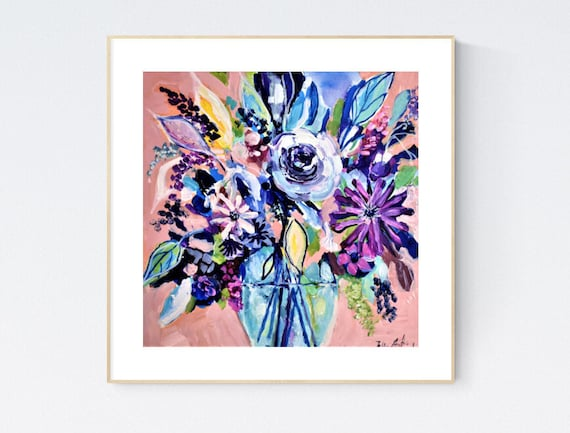 """12""""colorful mini miflower  abstract   painting  jolina anthony abstract art"""