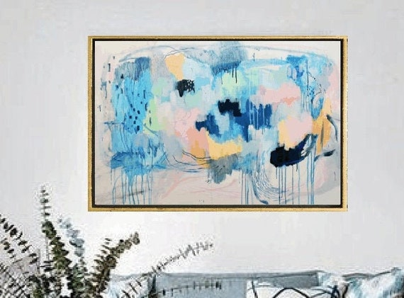 blue creme gray  abstract painting   modern ready to hang original painting,by   Jolina Anthony