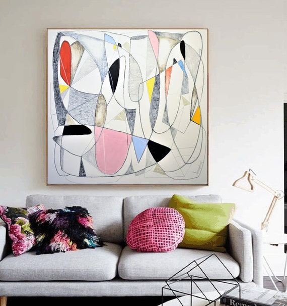 "40""x40""mid century  abstract painting,by Jolina Anthony"