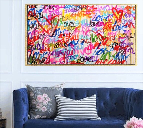 "60""x32""LOVE abstract painting   textured  original painting,by   Jolina Anthony"