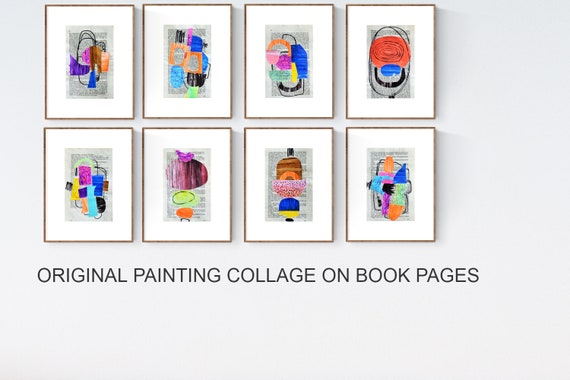 original book pages abstract painting  creme  large abstract painting    jolina anthony