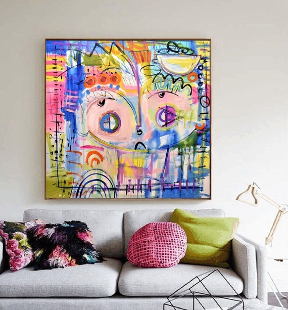 "40""x40""Face  large Abstract painting wunderful  original painting by  Jolina Anthony a beautifull"