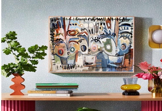 faces abstract painting colorful original art nice large abstract painting by Jolina Anthony
