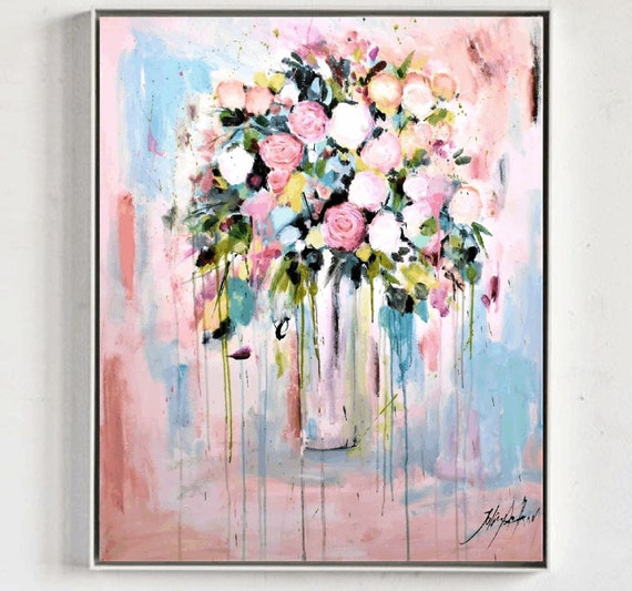 pastel flowers   abstract  painting,   nice  wall decor,xxxx oil painting,by Jolina Anthony