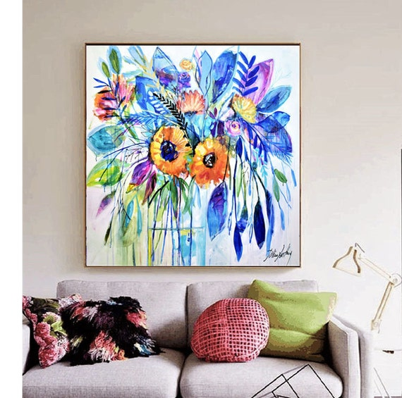 flowers  abstract painting   textured  original painting,by   Jolina Anthony