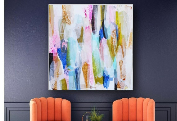 """40"""" colorful  abstract painting nice original wall decor  painting on canvas nice  oil painting"""