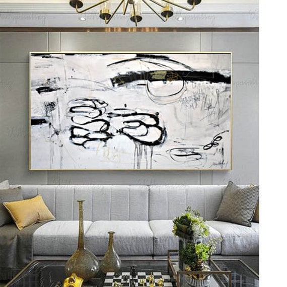 black and white      abstract painting nice  original painting
