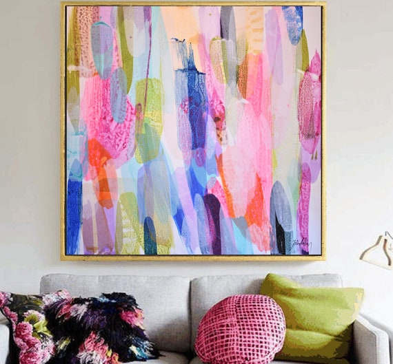 """42"""" colorful original abstract  painting  nice   painting on cancas by Jolina Anthony"""