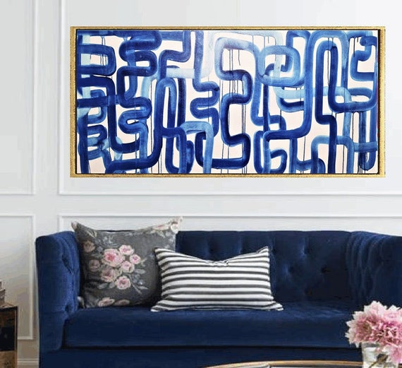 """60""""x30""""huge  blue   abstract painting by Jolina Anthony"""