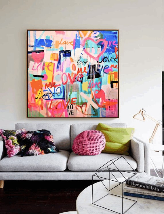 LOVE colorful    abstract painting by jolina anthony