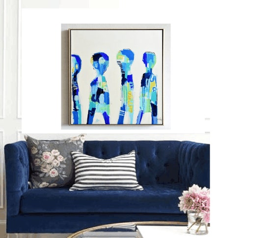 abstract  painting, nice  Acrylic painting , blue original painting,,,  Jolina Anthony