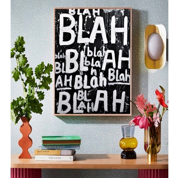 "again BLA BLAH abstract painting   nice colorful painting,30"" large canvas painting by  jolina Anthony"