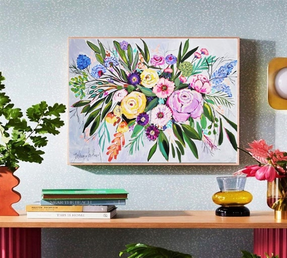 colorful flowers  abstract painting nice large painting on canvas by Jolina Anthony