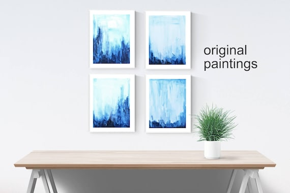 blue abstract painting  nice  abstract l art blue original painting
