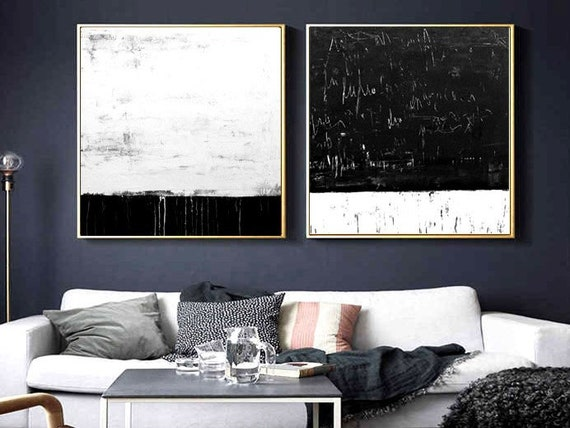 """black white   abstract painting 72""""  original painting nice wall art  by Jolina Anthony"""