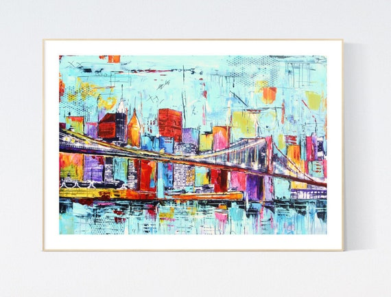new york abstract Art nice   abstract painting, Art Print  by Jolina Anthony