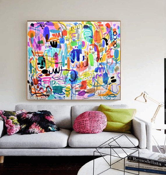 "60""x46""colorful  abstract painting by jolina anthony oil painting"