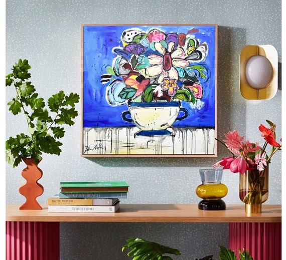 flowers in a vase abstract painting, nice large original   painting by jolina anthony abstract art