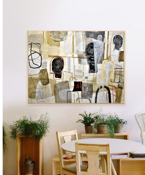 abstract painting beige mixed media original painting  by Jolina Anthony