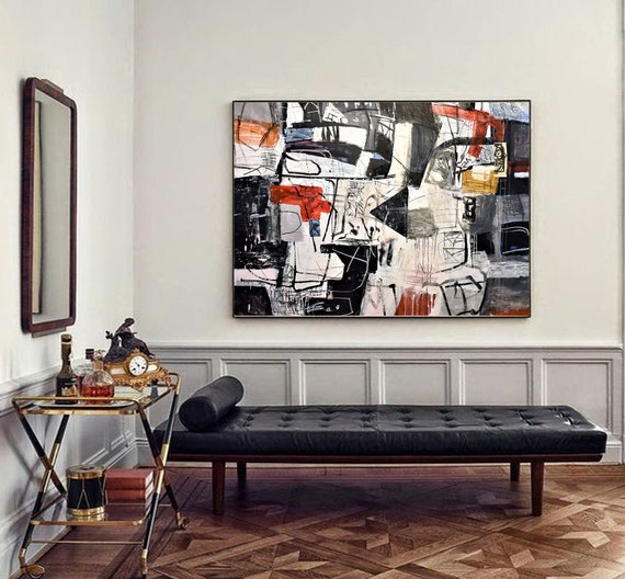"60""x42""black white  abstract painting   by Jolina Anthony"