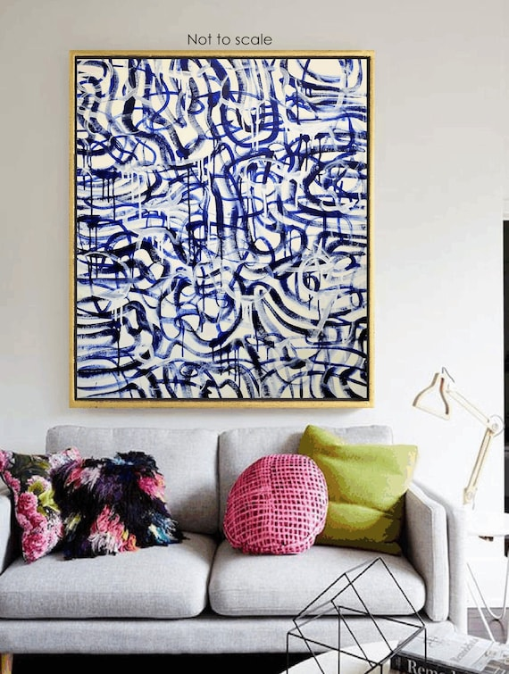 blue white    abstract Painting  blue  nice  oil painting  from   Jolina Anthony