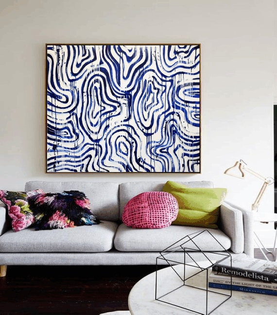 blue white   abstract  painting  , nice painting  by  Jolina Anthony