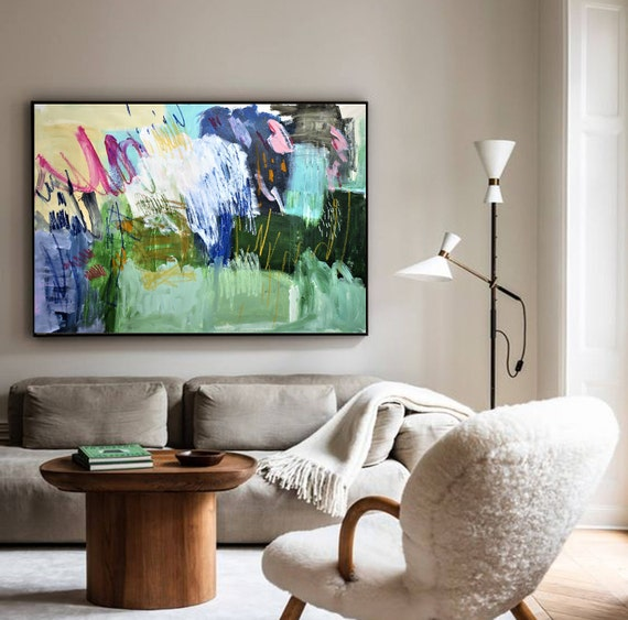 "40x30""green blue large  wall decor by Jolina Anthony"
