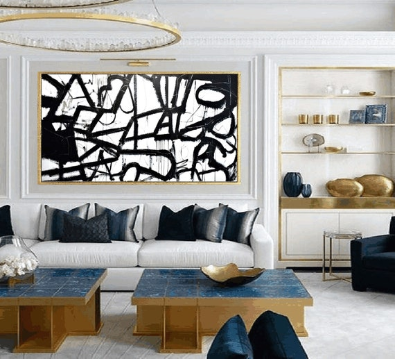 black and white abstract painting by Jolina Anthony