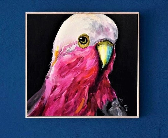 Bird colorful    abstract painting by jolina anthony oil painting