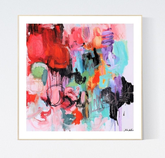 colorful  abstract painting, Art Print  by Jolina Anthony