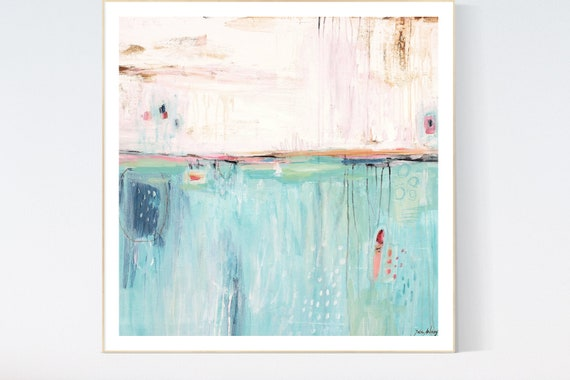 Aqua   abstract Art nice  abstract painting, Art Print  by Jolina Anthony
