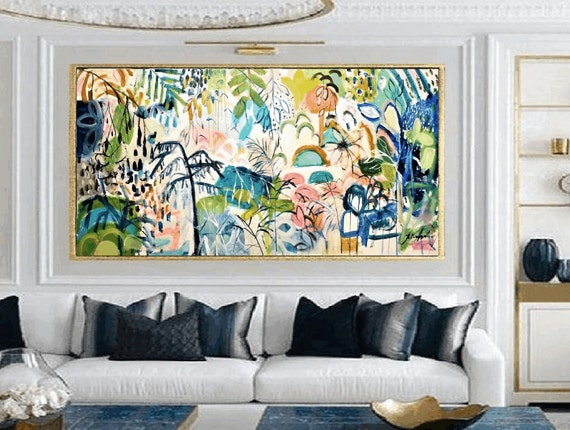 tropical dream   original colorful  abstract painting  artist jolina anthony