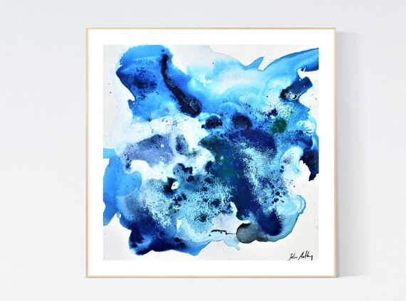 blue white abstract Art nice  abstract painting, Art Print  by Jolina Anthony
