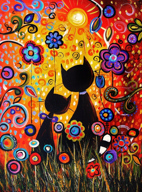 original print from my abstract painting limetid edition from my cats paintings jolina anthony express and free shipping