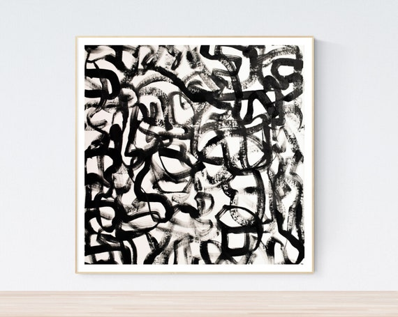 black white abstract painting, nice  large painting colorful original painting interesting oil painting , jolina anthony abstract art