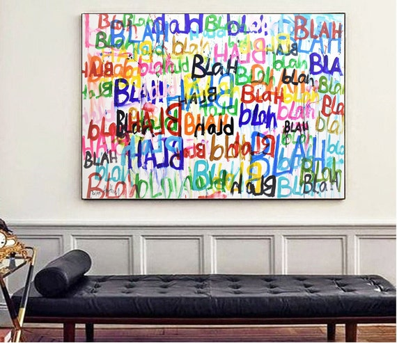 BLAH BLAH BLAH  wall art colorful astract Painting nice large original painting , by Jolina Anthony