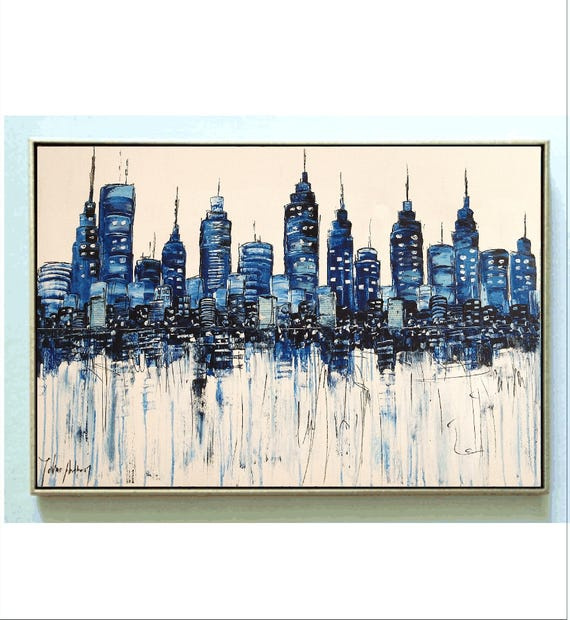 city  blue abstract painting, nice  large painting colorful original painting interesting oil painting , jolina anthony abstract art