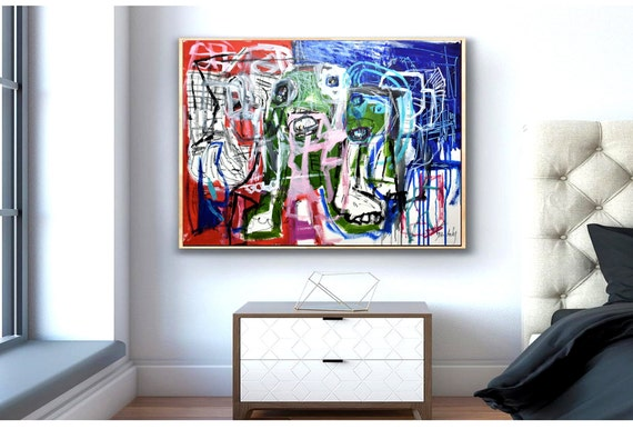 """brut art  abstract painting  nice abstract art 40"""" painting on canvas by Jolina Anthony"""