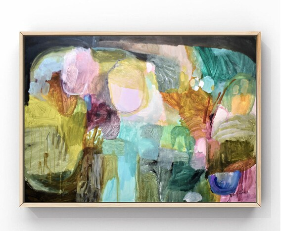 """40""""colorful    abstract painting by jolina anthony oil painting"""