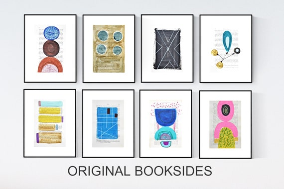 8 book pages abstract painting nice  original painting by Jolina Anthony, abstract art