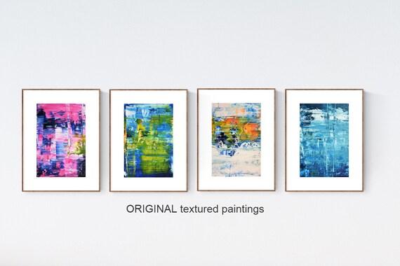set of 4 abstract Painting nice  original painting   jolina anthony