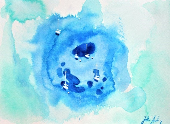 original water color   Mollorca  abstract  painting by   from jolina anthony
