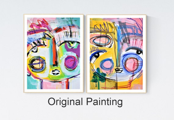 colorful works on paper two womens   abstract  painting by Jolina anthony