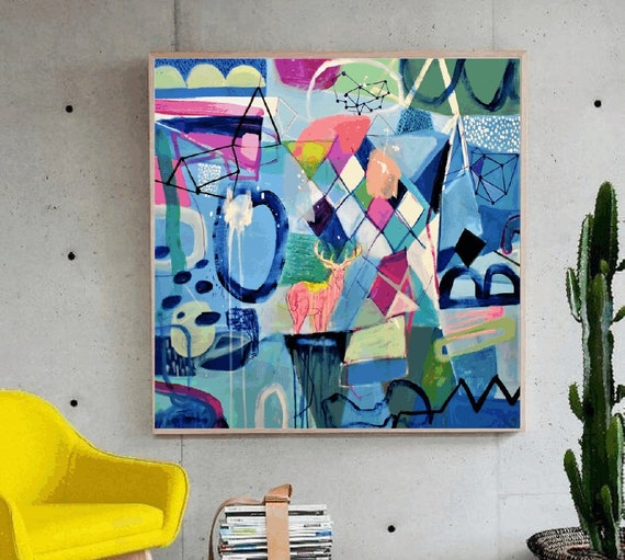 colorful Stag     large Abstract painting wunderful  original painting by  Jolina Anthony a beautifull