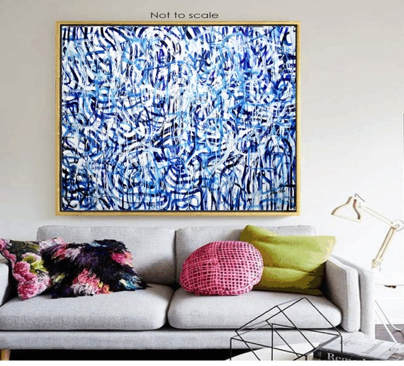 "60"" blue white  abstract painting nice  original painting"