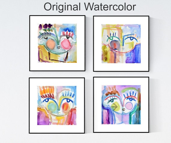 colorful faces watercolor abstract Painting nice  original painting   jolina anthony