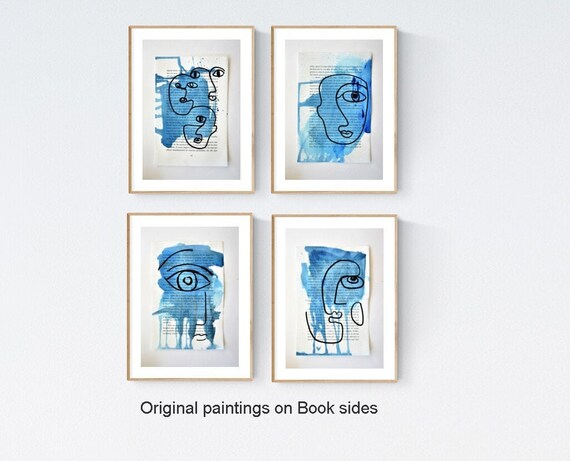 figurative blue abstract painting on  book sides  nice abstract art  by jolina anthony